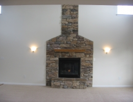 Gas Fireplace with Stone Front